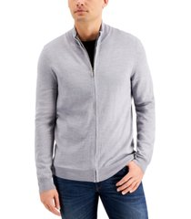 club room men's merino zip-front sweater, created for macy's