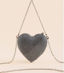 women's dorsey heart clutch in silver by francesca's - size: one size