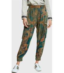 pantalón desigual multicolor - calce regular