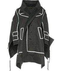 comme des garçons pre-owned contrast-trim draped jacket - black