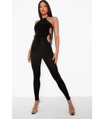 tall strakke jumpsuit met zijstrik, black