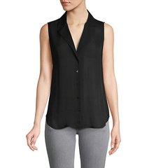 sleeveless silk button-down shirt
