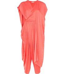 poiret cape detail cropped leg jumpsuit - pink