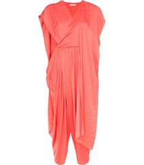 poiret cape detail cropped leg jumpsuit - pink