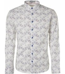 no excess 95450105 all over printed stretch shirt 010 white overhemd no-excess