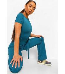 geribbelde wide leg jumpsuit met hoge kraag en schouderpads, teal