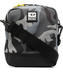 diesel camouflage-print zipped messenger bag - grey