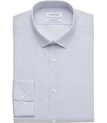 calvin klein men's infinite non-iron slate blue dot slim fit dress shirt - size: 17 32/33