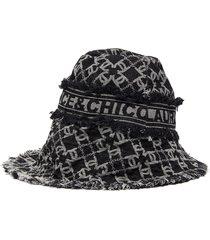 monogram print large brim denim hat