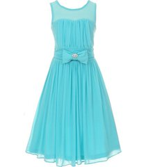 aqua sleeveless sweetheart mesh chiffon illusion neckline flower girl dress