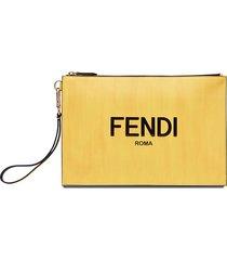 fendi logo print clutch bag - yellow