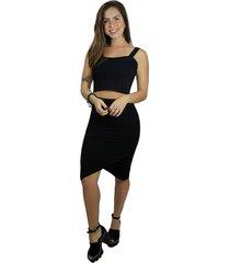 conjunto racy modas saia transpassada com cropped de alcinha preto