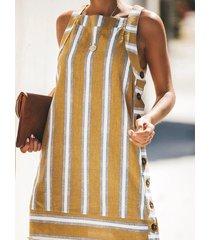 vestido de chaleco sin mangas con cuello cuadrado y diseño de botones a rayas amarillas de yoins