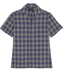 'gian' check linen cotton blend shirt