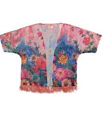 indian blue polyester kimono