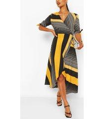 polka dot bodycon midi dress, yellow