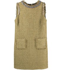 blumarine sleeveless tweed dress - green