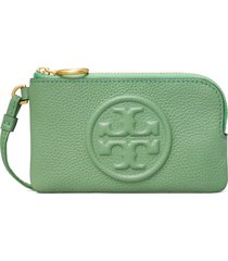 women's tory burch perry bombe leather card case - green