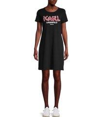 karl lagerfeld paris women's floral appliqué logo t-shirt dress - black - size s