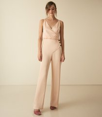 reiss antonia - button detail jumpsuit in gold, womens, size 10