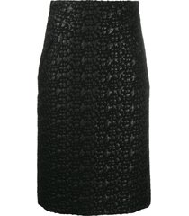 moschino pre-owned 2000s textured straight-fit skirt - black