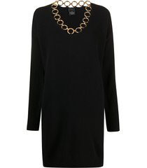 pinko ring-detail jumper dress - black