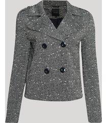 blazer feminino texturizado transpassado curto com botões cinza