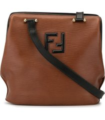 fendi pre-owned textured logo shoulder bag - brown