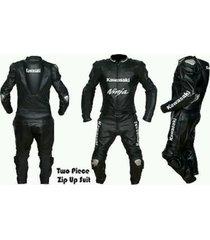 kawasaki ninja black motorcycle suit leather men jacket pants two piece xs - 6xl