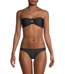 petal and sea by pq women's knotted bandeau bikini top - black - size l