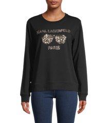 karl lagerfeld paris women's sequin sunglasses sweatshirt - black - size xs