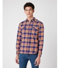 overhemd lange mouw wrangler chemise wranger à poches patriot blue