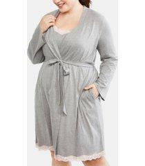 motherhood maternity plus size nursing nightgown & robe