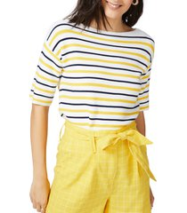 court & rowe court & rose stripe boat neck sweater, size x-large in canary gold at nordstrom