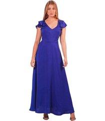 vestido adrissa fiesta azul largo con bolero