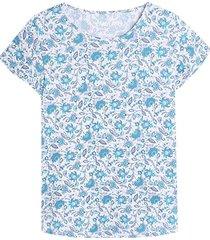 camiseta m/c azul con estampado mini flores