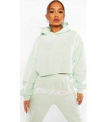 official oversized korte hoodie met rugopdruk, pastel blue