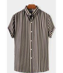 hombre verano casual algodón rayas botón frente transpirable camisa