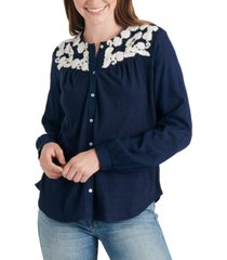 lucky brand embroidered-yoke cotton top