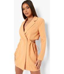 geplooide getailleerde blazer jurk met zijstrikjes, peach