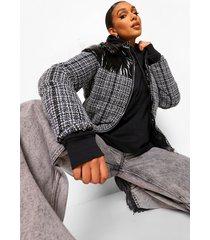 geruite gewatteerde jas met panelen, black