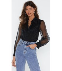 womens business in the front sheer blouse - black