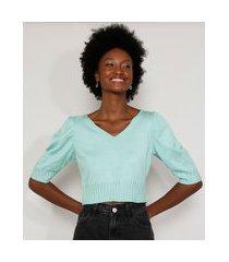 blusa de tricô feminina manga bufante cropped decote v verde claro