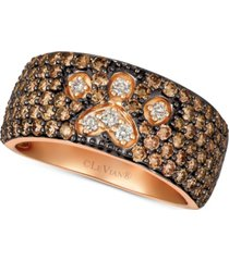 le vian chocolate & nude diamond paw print ring (2-1/3 ct. t.w.) in 14k rose gold