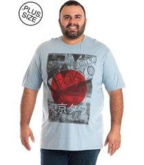 camiseta básica konciny manga curta plus size azul claro