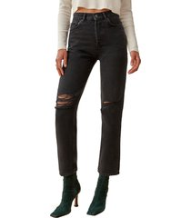 women's reformation cynthia high waist relaxed jeans, size 31 - black