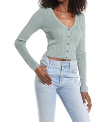 women's guess camille sweetheart crop cardigan, size x-large - green