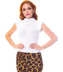 blusa moda vício trico regata com babado off white