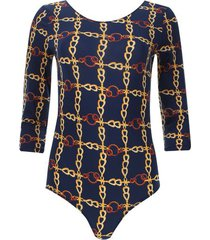 body azul estampado cadenas color azul, talla 6