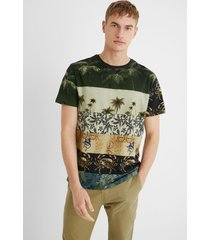 basic cotton t-shirt print mix - green - xl